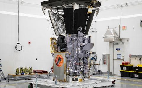 The Parker Solar Probe after the installation of its heat shield - Credit: Ed Whitman/NASA