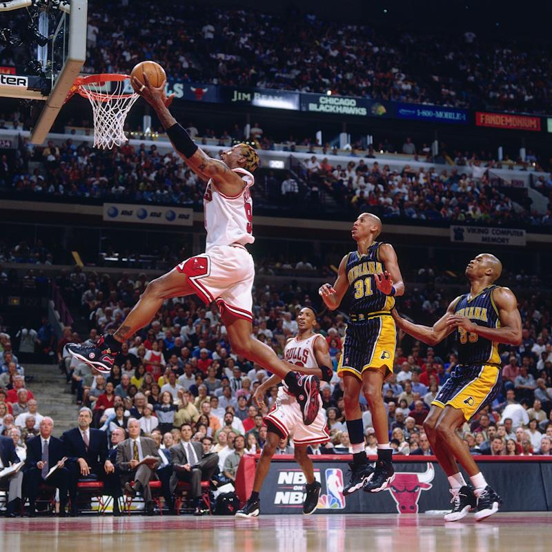 Dennis Rodman scoring against the Indiana Pacers in 1998, in scene from The Last Dance - Getty