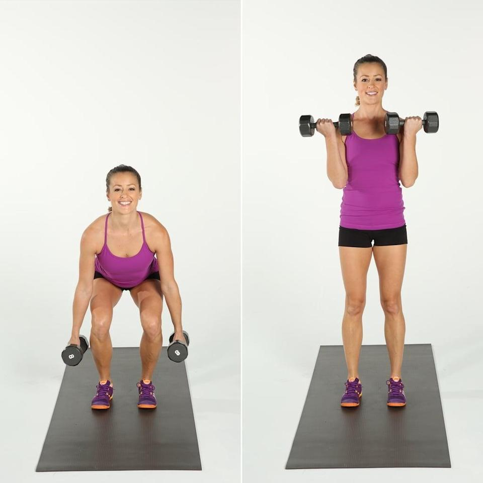 "<ul> <li>Begin in a <a href=""https://www.popsugar.com/fitness/How-Do-Squats-8876316"" class=""link rapid-noclick-resp"" rel=""nofollow noopener"" target=""_blank"" data-ylk=""slk:standard squat"">standard squat</a> or <a href=""http://www.popsugar.com/fitness/photo-gallery/31859960/image/31859989/Pli%C3%A9-Squat-15-Reps"" class=""link rapid-noclick-resp"" rel=""nofollow noopener"" target=""_blank"" data-ylk=""slk:wide externally rotated squat"">wide externally rotated squat</a> (also called a grande plie squat), holding two 5 lb. weights, one in each hand. </li> <li>With your palms up, perform a <a href=""http://www.popsugar.com/fitness/photo-gallery/35176832/image/35176834/Bicep-Curl-Overhead-Press"" class=""link rapid-noclick-resp"" rel=""nofollow noopener"" target=""_blank"" data-ylk=""slk:bicep curl"">bicep curl</a> four times, followed by a <a href=""http://www.popsugar.com/fitness/photo-gallery/35176832/image/35177404/Lateral-Arm-Raise"" class=""link rapid-noclick-resp"" rel=""nofollow noopener"" target=""_blank"" data-ylk=""slk:lateral arm raise"">lateral arm raise</a> four times. Stay in the squat for both arm segments, making sure you extend your elbows all the way straight each time. </li> <li>Repeat for four sets or 32 bicep presses total.</li> <li><strong>Modification:</strong> Come out of the squat as you do each bicep curl and lateral arm raise. </li> </ul>"