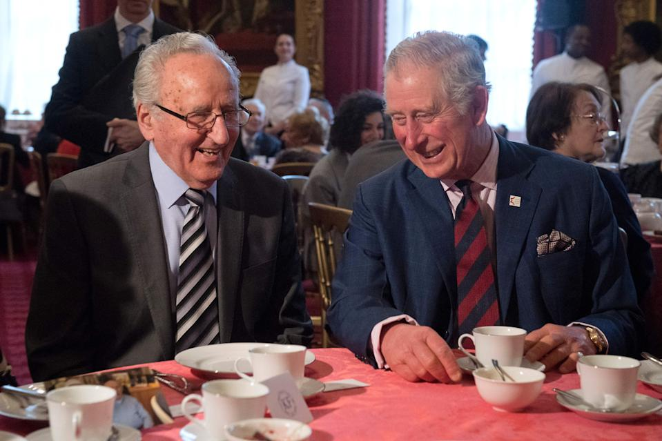 Britain's Prince Charles, Prince of Wales (R), who is Patron of The Holocaust Memorial Day Trust, speaks to Auschwitz survivor Ivor Perl during a reception at St. James' Palace in London on February 9, 2017. / AFP / POOL / Justin TALLIS        (Photo credit should read JUSTIN TALLIS/AFP via Getty Images)