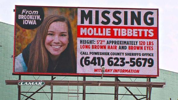 PHOTO: A missing person billboard for University of Iowa student Mollie Tibbetts. (KCRG)