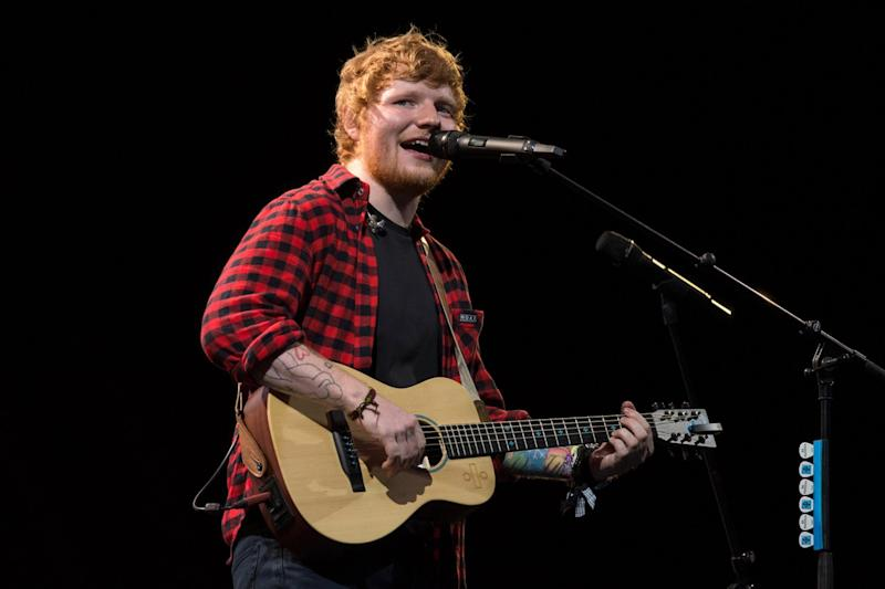 Broken arm: Ed Sheeran has been injured following a bicycle accident: Oli Scarff/AFP/Getty