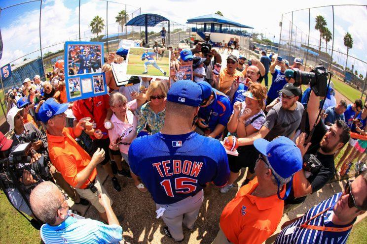 Tim Tebow will face legitimate competition in the AFL. (Getty Images/Rob Foldy)