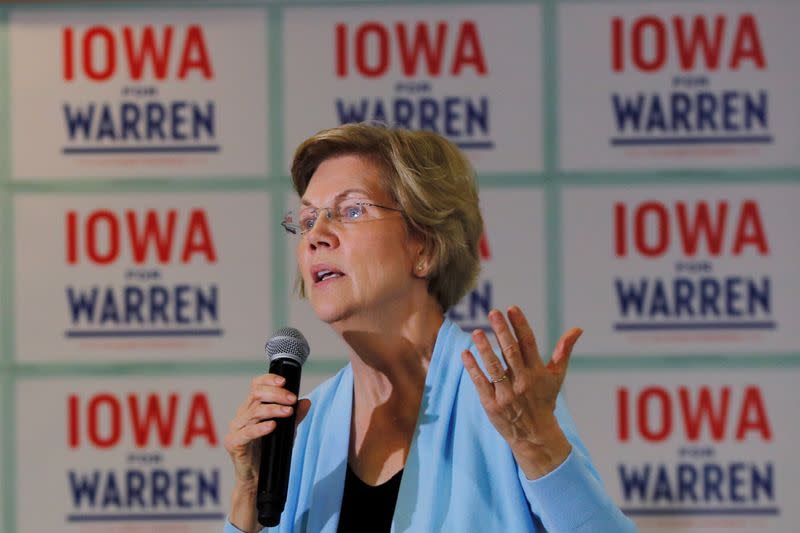 FILE PHOTO: Democratic 2020 U.S. presidential candidate Warren speaks at a campaign town hall meeting in Grimes