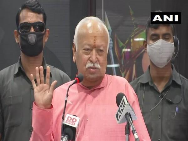 RSS chief Mohan Bhagwat speaking at a book launch event in Ghaziabad on Sunday. [Photo/ANI]