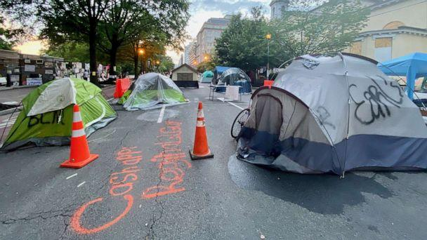 PHOTO: Tents are shown at Lafayette Square, June 20, 2020, in front of the White House. (Amy Katz/ZUMA Wire via Newscom)