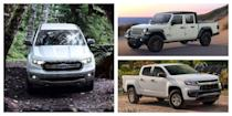"<p>Many of today's <a href=""https://www.caranddriver.com/trucks/"" rel=""nofollow noopener"" target=""_blank"" data-ylk=""slk:new pickup trucks"" class=""link rapid-noclick-resp"">new pickup trucks</a> have abandoned their workaday roots and become true luxury vehicles, even costing upwards of six figures with all the options. But while the top-end models offer a rare combination of creature comforts and hauling capabilities, there are still some workaday trucks you can get on the cheap—if you're willing to sacrifice niceties like heated and cooled leather seats, fancy touchscreens, and self-parking features, that is.</p><p>How cheap is cheap? We've selected the least expensive version of each pickup truck on the market and ranked them from highest base price to lowest. Click through for the most basic 2021 (and 2020) trucks you can buy today, as well as some tips for how to configure each truck for its lowest MSRP. (You might be surprised by the number of trucks still available with vinyl seats.)</p>"