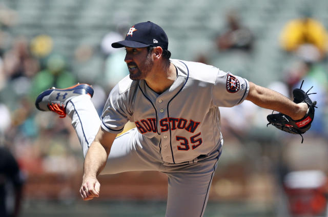 Houston Astros pitcher Justin Verlander works against the Oakland Athletics in the first inning of a baseball game Thursday, June 14, 2018, in Oakland, Calif. (AP Photo/Ben Margot)