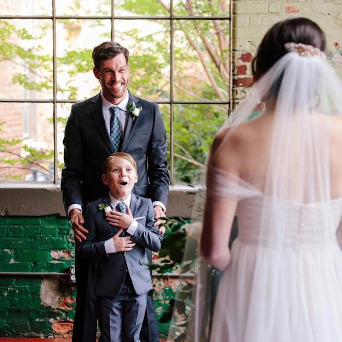 Jude, age 9, with his dad, Tyler Seabolt, and stepmom, Rebekah Seabolt, on their wedding day. (Ashah Photography)