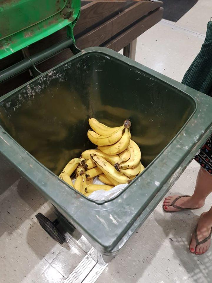Pictured are the bunches of bananas in the bin. Source: Facebook