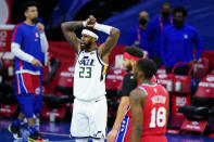 Utah Jazz's Royce O'Neale reacts after a foul call during overtime in an NBA basketball game against the Philadelphia 76ers, Wednesday, March 3, 2021, in Philadelphia. (AP Photo/Matt Slocum)