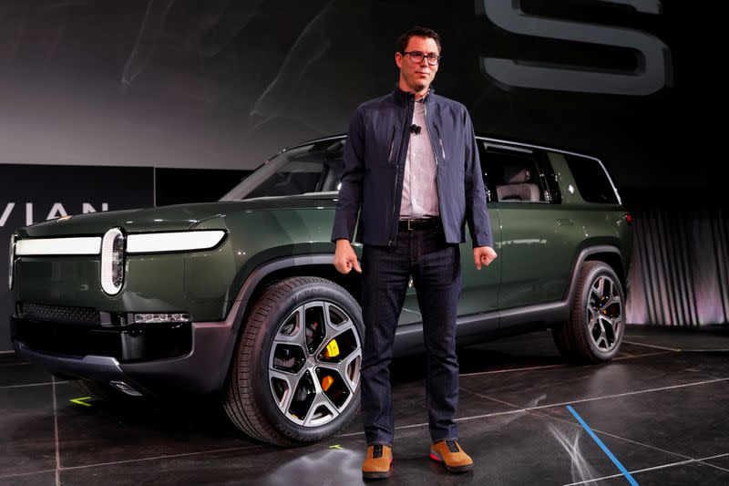 FILE PHOTO: Rivian introduces all-electric R1S SUV at LA Auto Show in Los Angeles