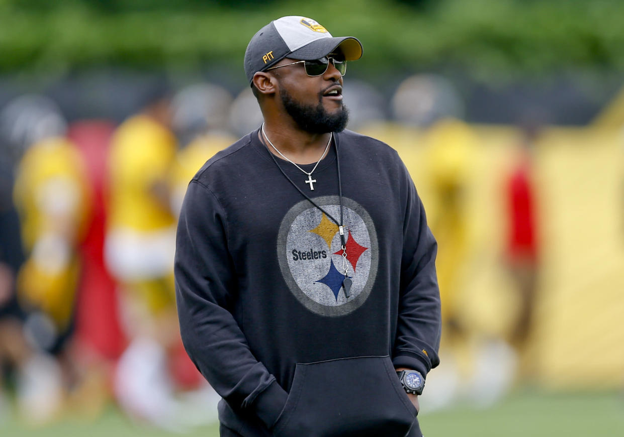 Not sweating it: Pittsburgh Steelers coach Mike Tomlin said he hasn't given 'one iota' of thought to Le'Veon Bell's future with the team. (AP)