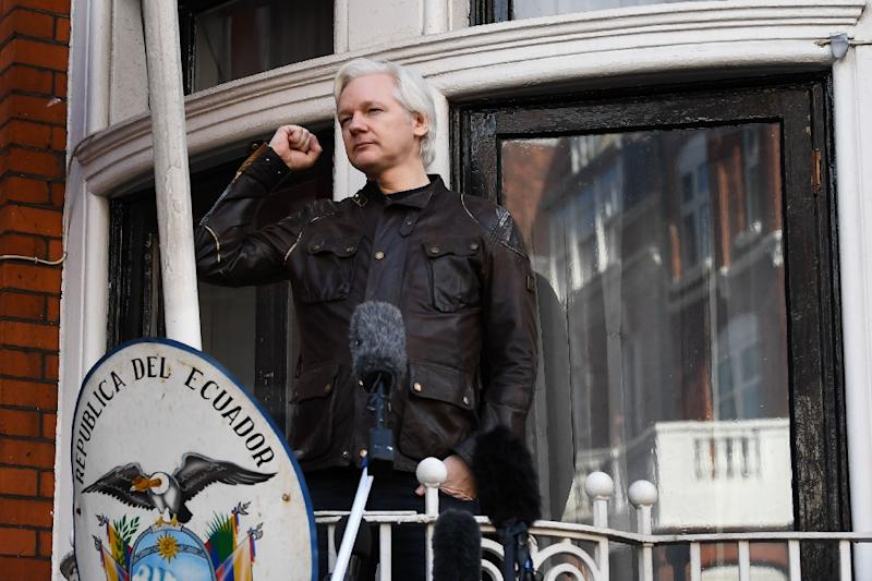 Assange was last seen in public in May 2017, giving a clenched fist salute from the balcony of his living quarters (AFP Photo/Justin TALLIS)