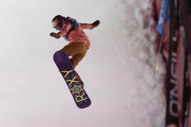 Great Britain's Katie Ormerod competes to win the Snowboard World Cup ladies Big Air event in Moscow, Russia, on Saturday, Jan. 7, 2017. (AP)