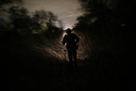 A U.S. Border Patrol agent searches for illegal immigrants who crossed the Rio Grande River in Mission, Texas