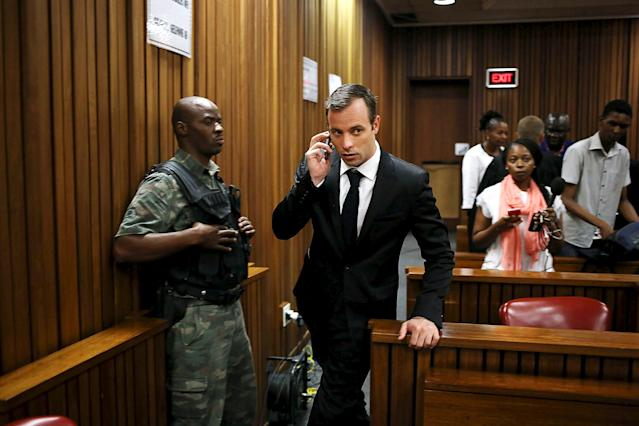 Oscar Pistorius arrives to appear for a postponement of sentencing hearing at the High Court in Pretoria, South Africa, April 18, 2016. REUTERS/Alon Skuy/Pool