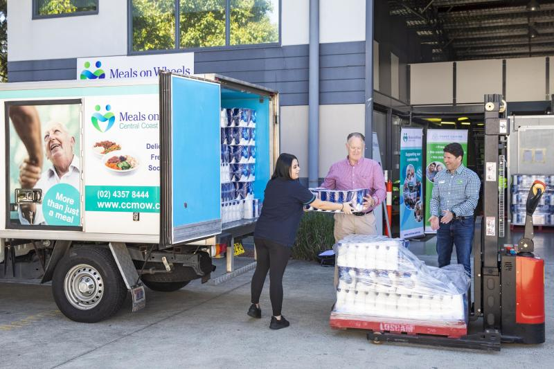 The first toilet paper drop-off at the Meals on Wheels Tuggerah branch on Friday. Source: Supplied