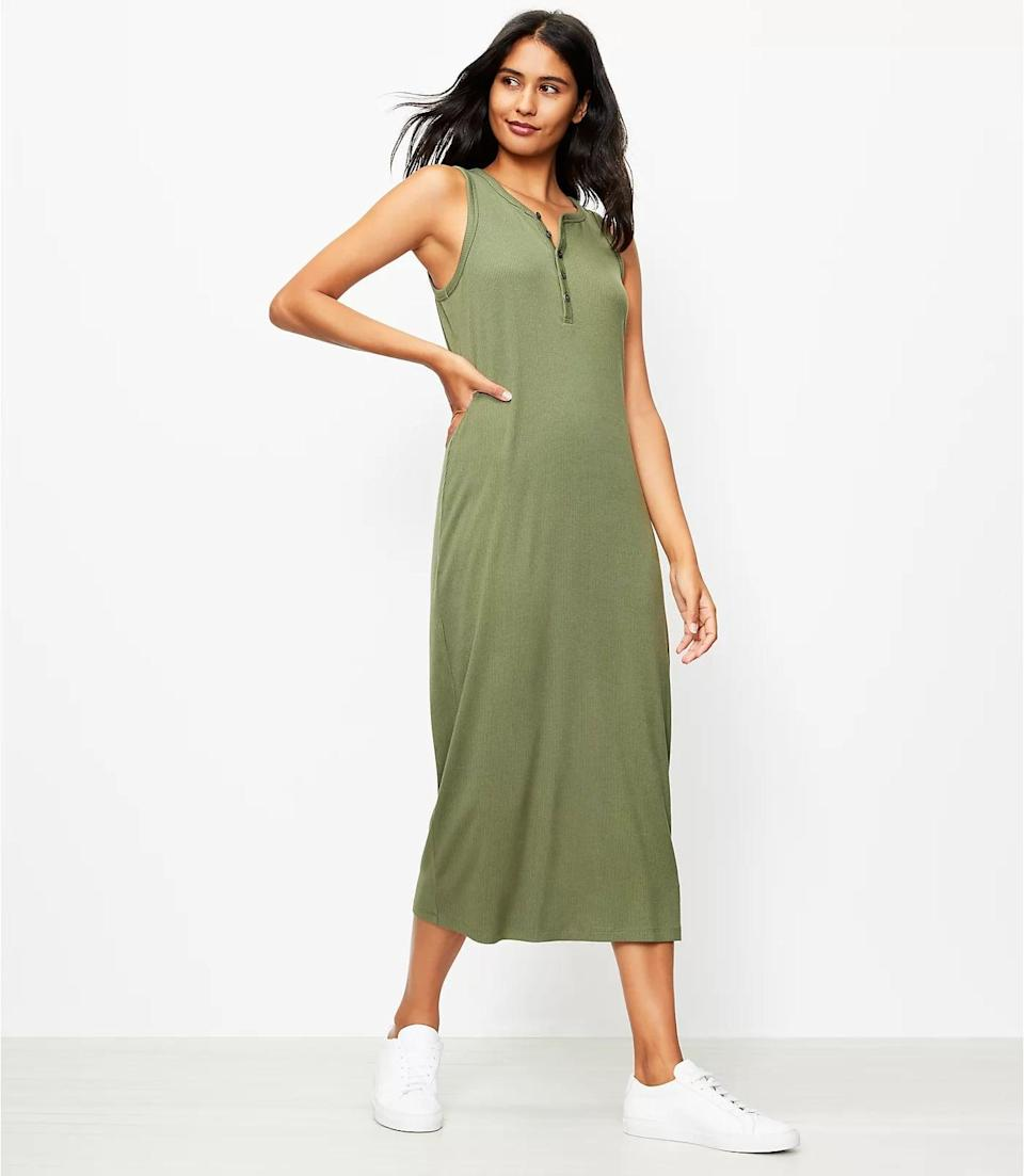 <p>This sleeveless <span>Lou &amp; Grey Ribbed Henley Maxi Dress</span> ($80, plus 30 percent off with code SOGOOD) has a smooth ribbed texture and slouchy silhouette that make it look relaxed yet still put-together. It's great for lounging or going on quick walks.</p>