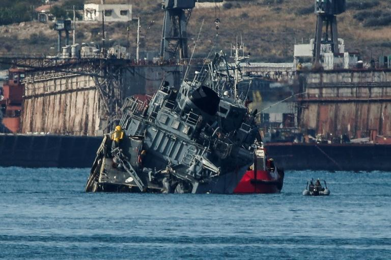 Two crew members of the minesweeper were injured