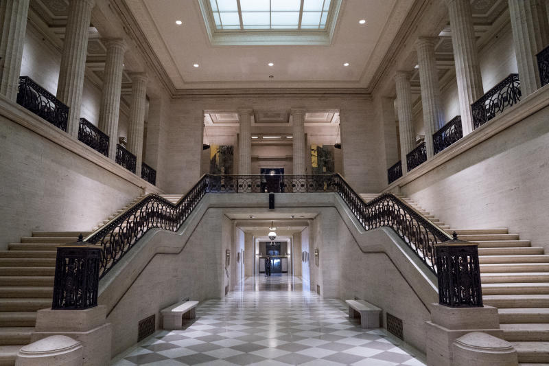 The atrium of the Marriner S. Eccles Federal Reserve Board Building, Monday, Feb. 5, 2018, in Washington. (AP Photo/Andrew Harnik)