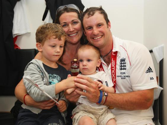 Andrew Strauss of England with wife Ruth and children Samuel and Luca (Getty Images)