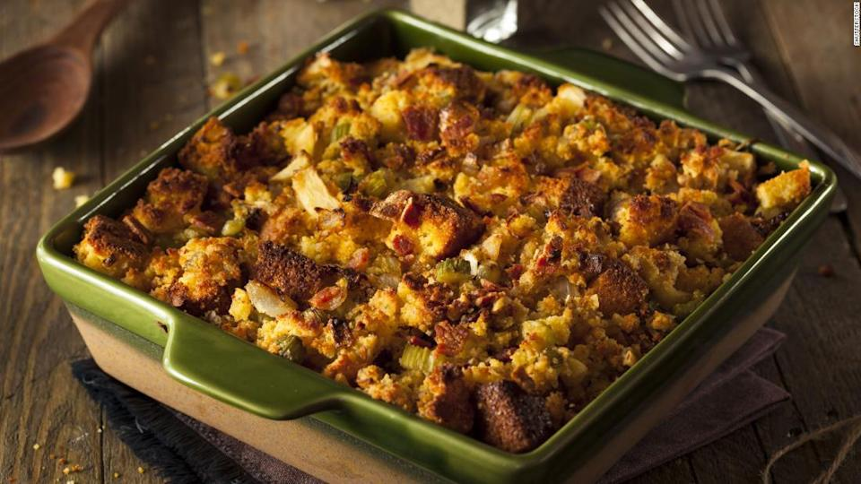 "<p>Go all-in on stuffing by turning it into a casserole for the main course. </p><div class=""cnn--image__credit""><em><small>Credit: Shutterstock / Shutterstock</small></em></div>"