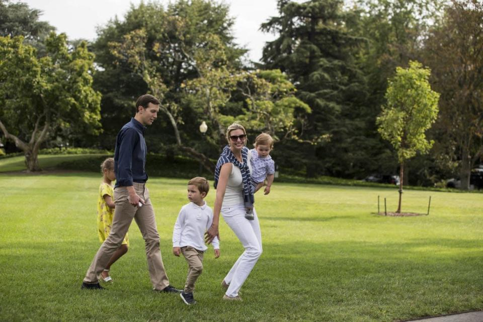 """<div class=""""inline-image__caption""""><p>Jared and Ivanka with their children on the South Lawn, Aug. 27, 2017, in Washington, DC.</p></div> <div class=""""inline-image__credit"""">Alex Edelman-Pool/Getty Images</div>"""