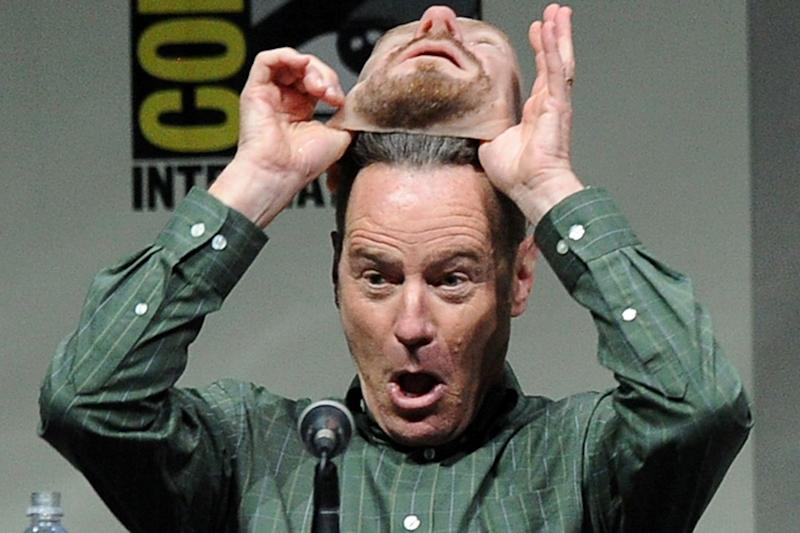 Snooping: Bryan Cranston whipped off his mask to hundreds of startled fans in 2013: Kevin Winter/Getty Images