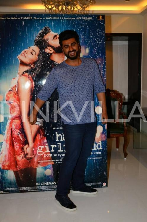 "<p>Recommended Read:  <a rel=""nofollow"" href=""https://www.pinkvilla.com/entertainment/news/376229/parineeti-chopra-arjun-kapoor-choose-one-ranveer-singh-or-me-your-half?utm_source=yahoo&utm_medium=referral&utm_content=yahoomovies"">Parineeti Chopra to Arjun Kapoor: Choose one - Ranveer Singh or me as your half girlfriend </a></p><p>Wearing a Scotch & Soda jumper, Diesel jeans and Lanvin shoes, Arjun Kapoor looked dapper and we couldn't get enough of his foolish antics at the promotions. From sitting on the floor to holding his co-star, <a rel=""nofollow"" href=""https://www.pinkvilla.com/Celebrity/Shraddha-%2520Kapoor%2520"" title=""Shraddha Kapoor"">Shraddha Kapoor</a>'s hand in the larger-than-life-kind-of-cut-out of the movie, Arjun did it all to amuse us, or maybe himself. While the promotion of Mohit Suri's Half Girlfriend is in full swing, and the cast and crew is making sure to create the much-needed buzz around the movie.</p><p>Mohit Suri's Half Girlfriend is an upcoming Indian romantic comedy based on the 2014 best-selling novel by the same name by writer Chetan Bhagat. Half Girlfriend is a story about a boy who hails from a backward region of Bihar but wants an English-speaking upper class Delhi girl as his girl friend. The movie is slated to release on 19<sup>th</sup> May, 2017.</p><p>In the movie, Arjun Kapoor will be playing the role of a Bihari boy, Madhav, who falls in love with Riya Somani, who belongs to the typical Delhi elite culture. And while the chemistry of Arjun and Shraddha is the talk of the town, we can't wait to watch the movie. </p>"