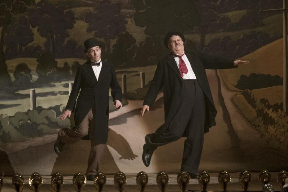 "This image released by Sony Pictures Classics shows Steve Coogan as Stan Laurel, left, and John C. Reilly as Oliver Hardy in a scene from ""Stan & Ollie."" (Sony Pictures Classics via AP)"