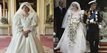 """<p>Fans of<em> The Crown</em> are in for a treat. When the series re-creates Princess Diana's fairytale wedding to Prince Charles, actress Emma Corrin will be wearing an almost exact replica of Diana's gown. """"The Emanuels, who designed the original, gave us the patterns, and then it was made for me,"""" Corrin revealed to <em><a href=""""https://www.vogue.co.uk/arts-and-lifestyle/article/emma-corrin-interview"""" rel=""""nofollow noopener"""" target=""""_blank"""" data-ylk=""""slk:British Vogue"""" class=""""link rapid-noclick-resp"""">British Vogue</a></em>. """"I walked out and everyone went completely silent.""""</p>"""