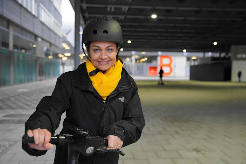 Lib Dem mayoral candidate Siobhan Benita on an e-scooter at the Olympic Park (John Russell )