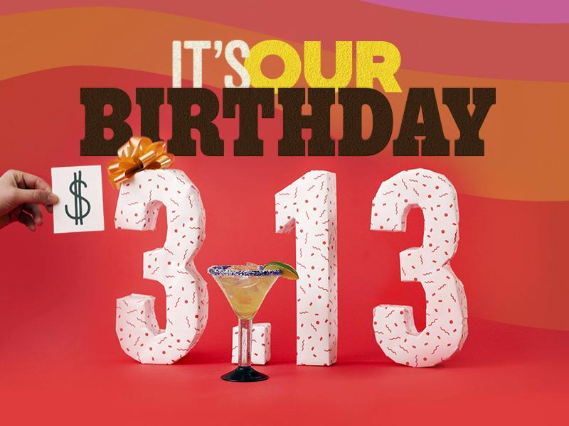 #ChilisBirthday is Back, Baby Back, Baby Back on March 13 with $3.13 Presidente Margaritas