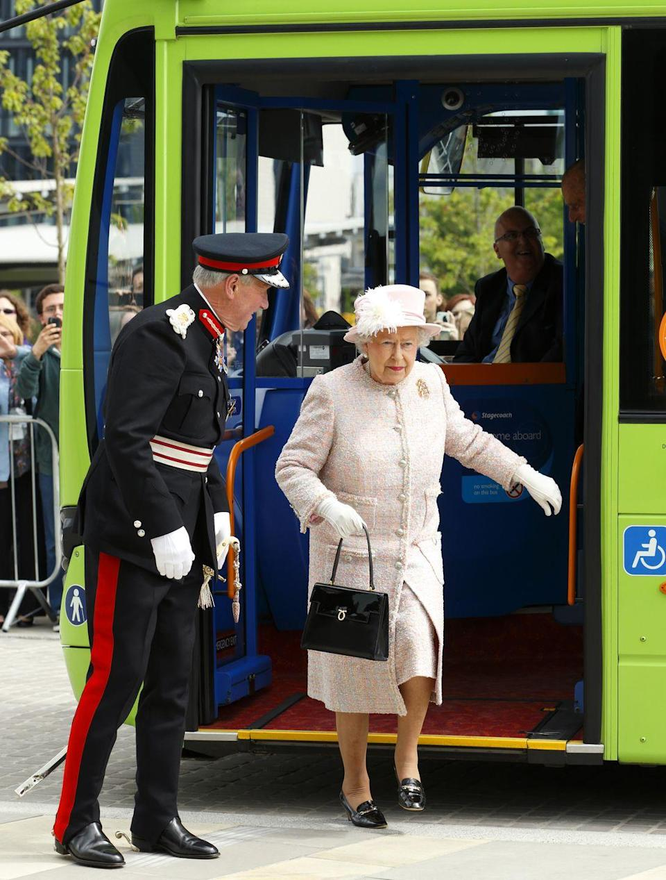 <p>The Queen may be royalty, but the monarch took the bus in 2013 with Prince Philip to an event in Cambridge, England. She had the Cambridgeshire Guided Bus Company to thank for her ride.</p>