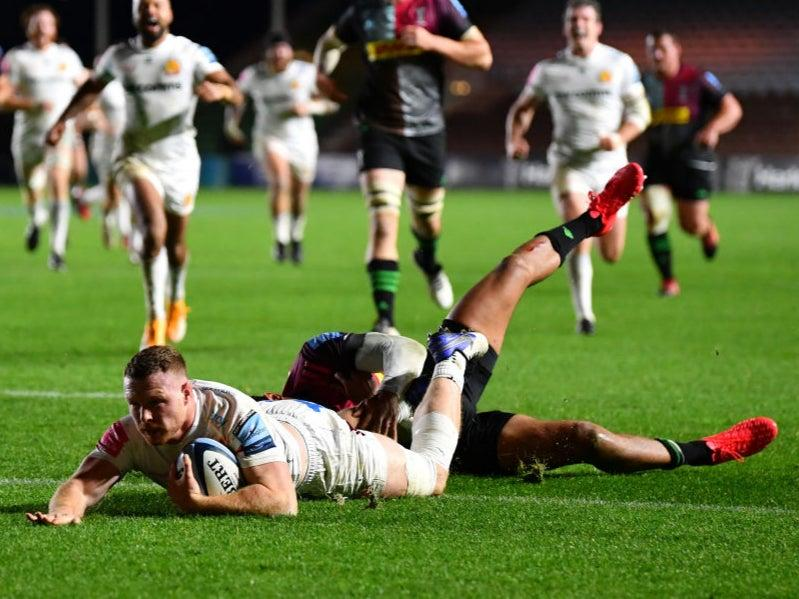 <p>Simmonds's third try sealed the bonus point for Exeter</p>Getty