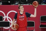 United States' Breanna Stewart takes part in a women's basketball practice at the 2020 Summer Olympics, Saturday, July 24, 2021, in Saitama, Japan. (AP Photo/Eric Gay)