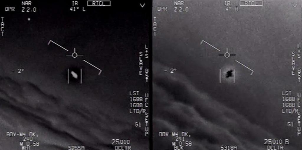 Stills from a Department of Defense video footage of a mysterious object intercepted by a USN F/A-18 Super Hornet in 2004. (Photo: Department of Defense)