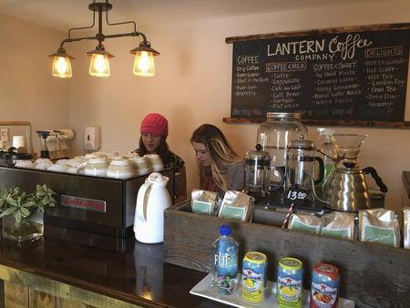 Baristas prepare for Friday's grand opening at the Lantern Coffee Company in Williston, North Dakota