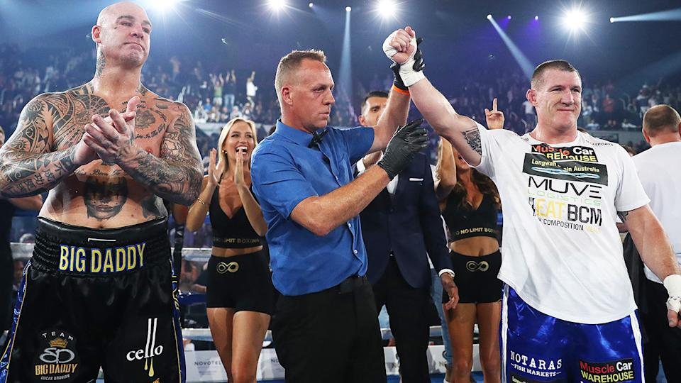 Paul Gallen, pictured here celebrating his win over Lucas Browne.