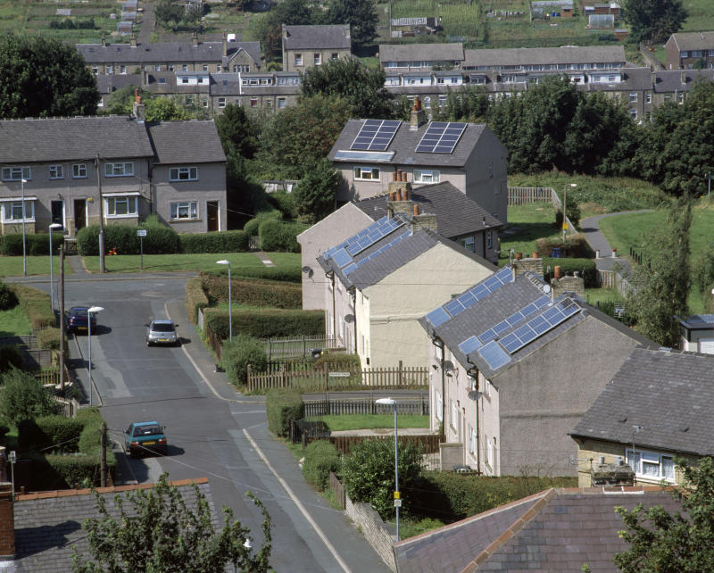 Photovoltaic cells for generating electricity on house roofs, Primrose Hill Solar Village, Huddersfield UK. (Photo by Photofusion/Construction Photography/Avalon/Getty Images)