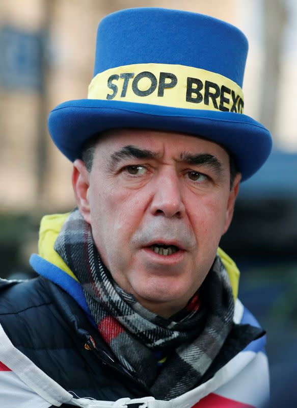 Westminster protester and anti Brexit activist Steve Bray speaks during a Reuters interview near the Parliament Buildings in Westminster, London