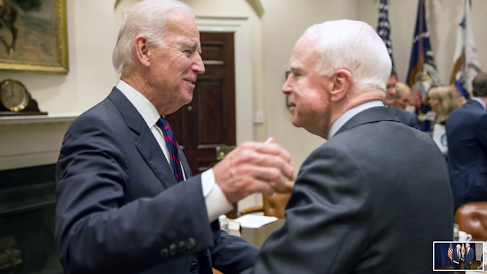 Joe Biden and John McCain, pictured in the new campaign ad (Joe Biden campaign)