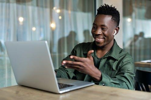 "<span class=""caption"">Socialise, even if only online.</span> <span class=""attribution""><a class=""link rapid-noclick-resp"" href=""https://www.shutterstock.com/image-photo/handsome-african-american-man-using-computer-1576810201"" rel=""nofollow noopener"" target=""_blank"" data-ylk=""slk:Evgenyrychko/Shutterstock"">Evgenyrychko/Shutterstock</a></span>"
