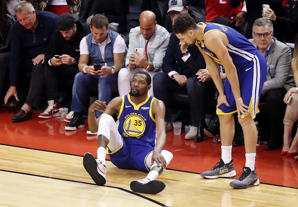Kevin Durant left Game 5 of the NBA Finals with an injury to his right Achilles, and now we know the full diagnosis. (Photo by Claus Andersen/Getty Images)