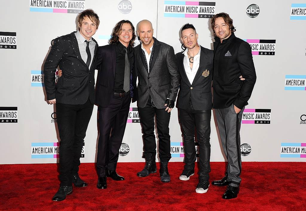 Brian Craddock, Robin Diaz, Chris Daughtry, Josh Paul, and Josh Steely of Daughtry arrive at the 2011 American Music Awards held at the Nokia Theatre L.A. LIVE (11/20/2011)