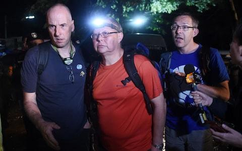 The three British cave-divers: Richard William Stanton (left), Robert Charles Harper (centre) and John Volanthen - Credit: AFP