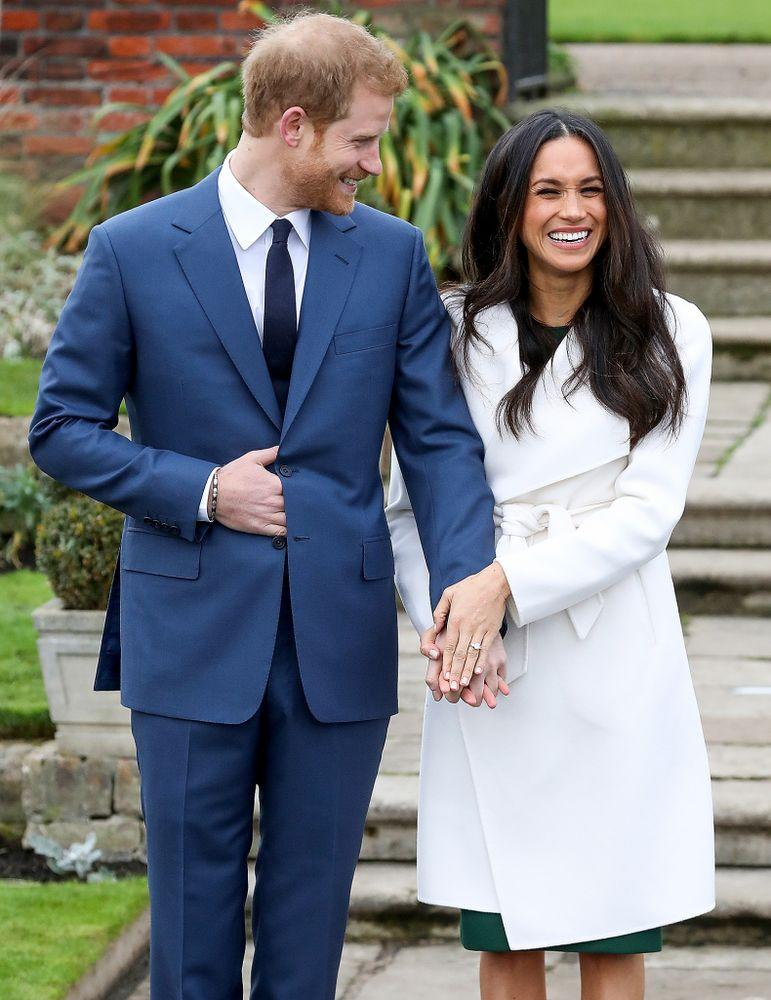 Meghan Markle and Prince Harry announcing their engagement in November 2017. | Chris Jackson/Getty