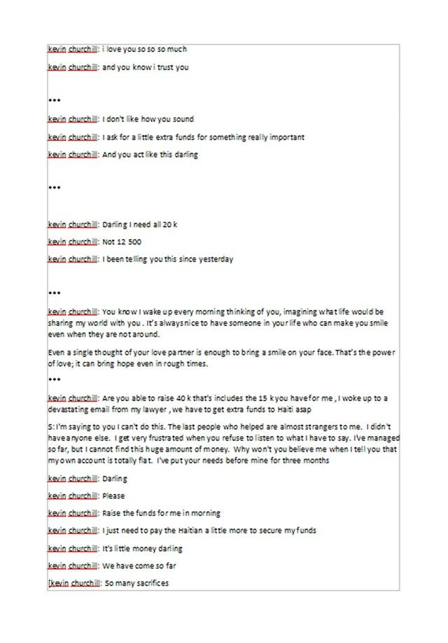 An example of messages between victims and an internet dating fake profile used by the fraudsters