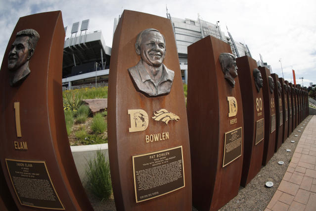 A tribute to Denver Broncos owner Pat Bowlen stands outside Mile High Stadium, the home of the franchise, Friday, June 14, 2019, in Denver. Bowlen died Thursday night. (AP Photo/David Zalubowski)
